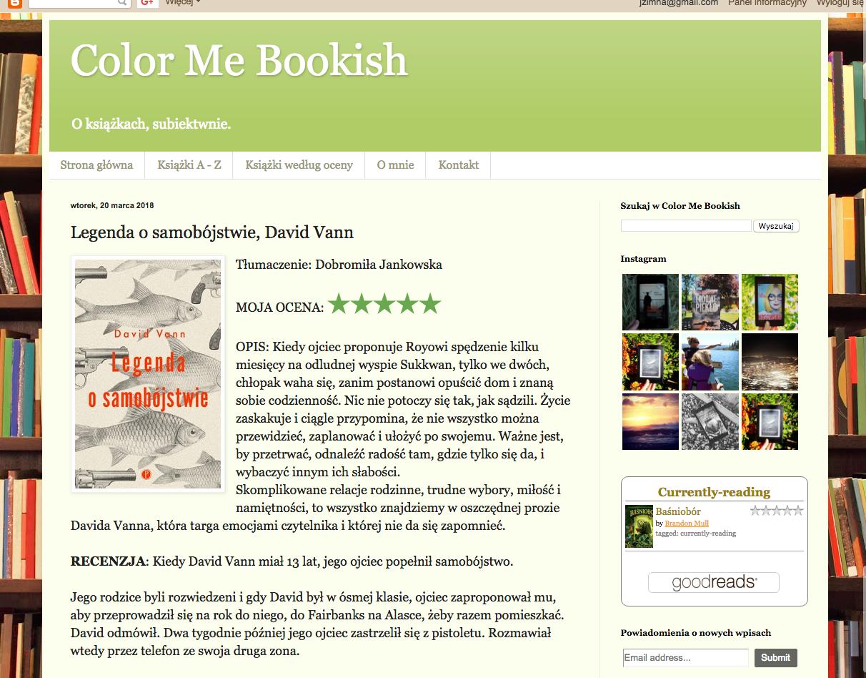 Color Me Bookish o Legendzie o samobójstwie