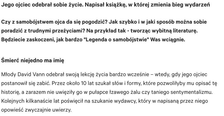Gazeta Wyborcza o Legendzie o samobójstwie