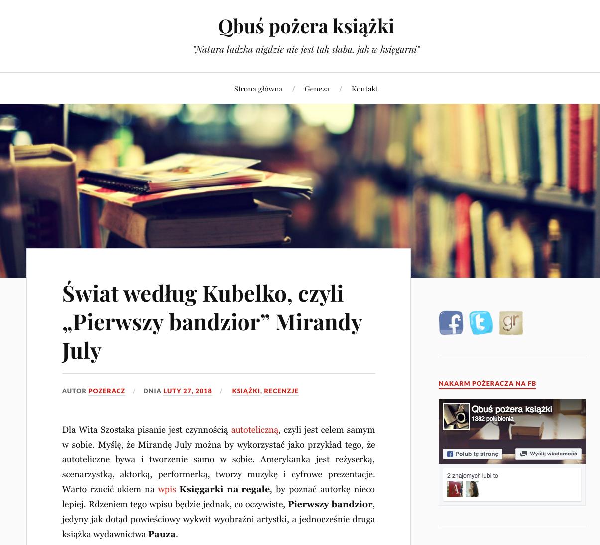 Świat według Kubelko czyli Pierwszy bandzior Mirandy July – Qbuś pożera książki