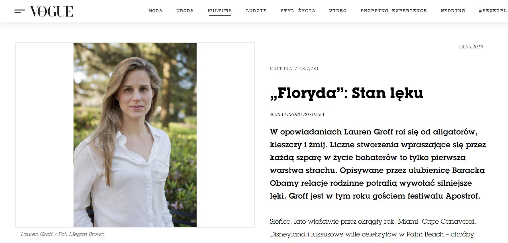 """Vogue (Maria Fredro-Boniecka) o """"Floryda"""""""