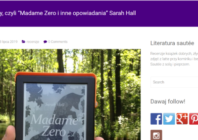 "Literatura Sautee o ""Madame Zero i inne opowiadania"""