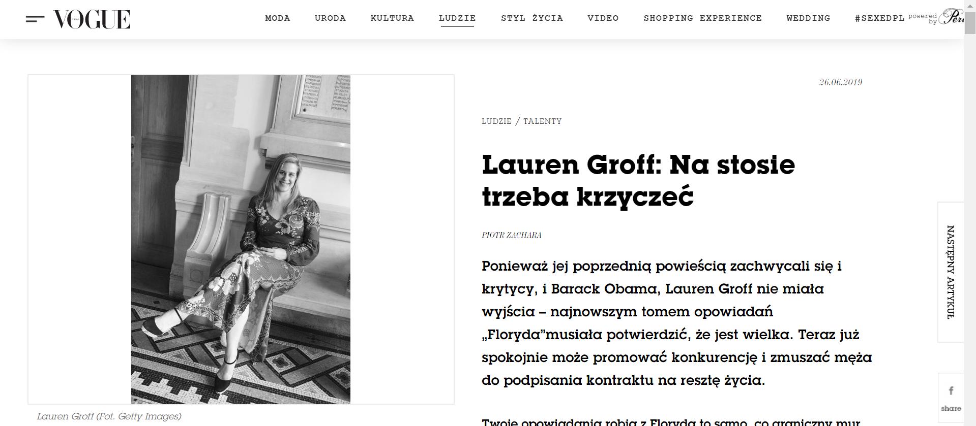 """Wywiad z Lauren Groff dla Vogue PL o """"Floryda"""""""