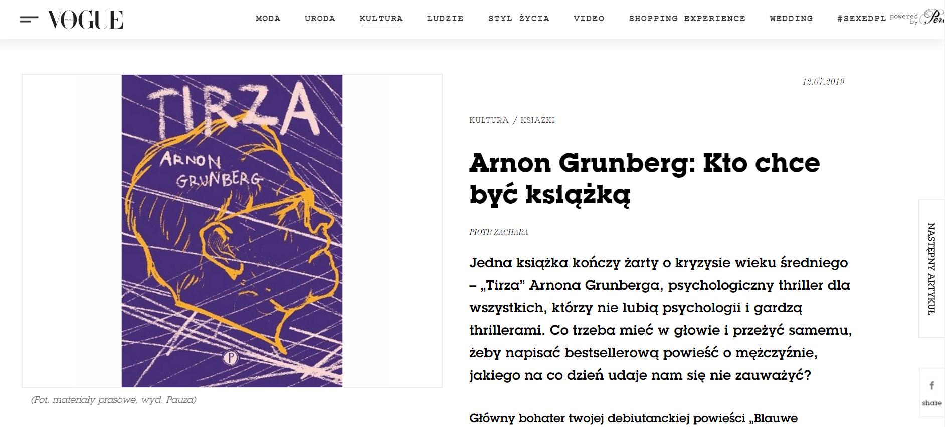 Wywiad z Arnonem Grunbergiem dla Vogue o Tirzie