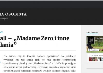 """Czytelnia Osobista o """"Madame Zero i inne opowiadania"""""""