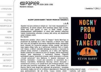 """ArtPapier o """"Nocny prom do Tangeru"""""""