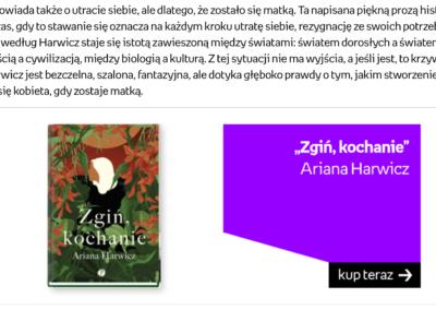 """""""Zgiń, kochanie"""" w rankingu Empiku """"Najlepsze książki 2020 roku: debiuty"""""""