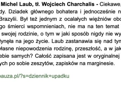 """""""Dziennik upadku"""" w listopadowym podsumowaniu Kulturalnej Dzielnicy"""