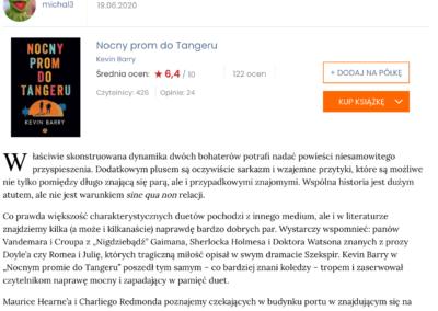 """Lubimy Czytać o """"Nocny prom do Tangeru"""" – oficjalna recenzja"""
