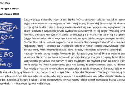 """Wolna droga o powieści """"Niebieska Księga z Nebo"""""""