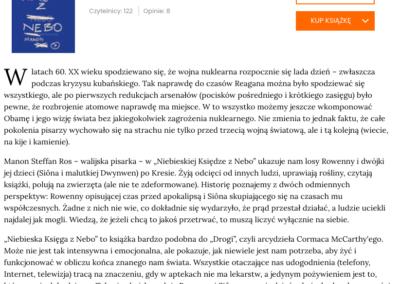 """Lubimy Czytać o powieści """"Niebieska Księga z Nebo"""" – oficjalna recenzja"""