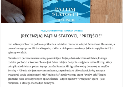 """Wojciech Szot (""""Zdaniem Szota"""") o powieści """"Przejście"""""""