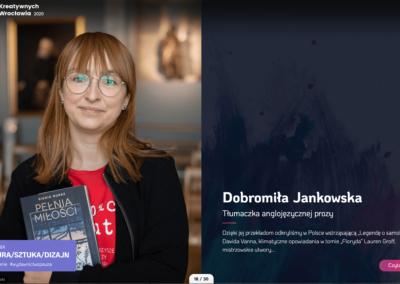 Dobromiła Jankowska, tłumaczka prozy Davida Vanna, jedną z 30tu Kreatywnych Wrocławia!