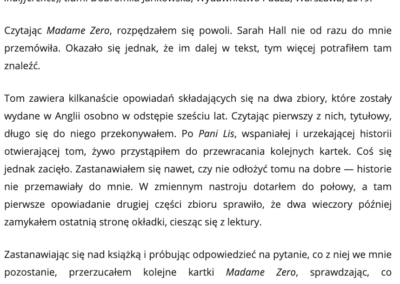 """CzytanieToPrzygoda.pl o """"Madame Zero i inne opowiadania"""""""