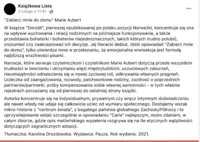 """Książkowa Lista o """"Zabierz mnie do domu"""""""